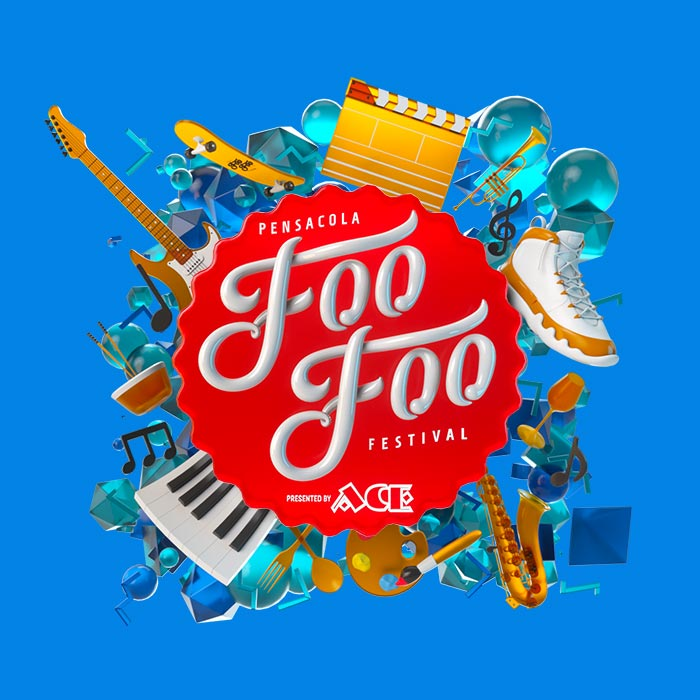Foo Foo Festival Logo exploding with guitars pianos shoes saxophone
