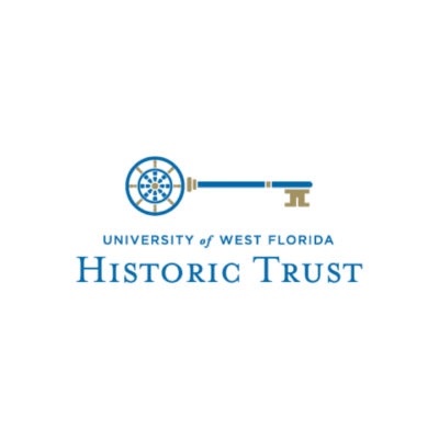 University of West Florida Historic Trust logo with golden key, featuring blue font and gold accents