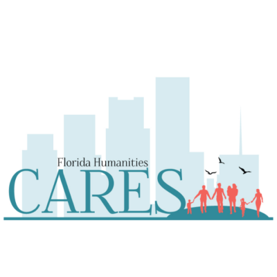 Florida Humanities Cares Logo Features Family Walking Hand-in-Hand with skyline in background