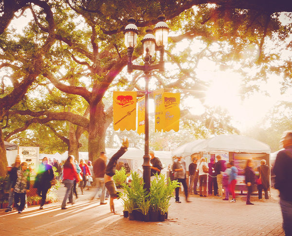 Dusk at the great gulf coast arts festival in seville square.