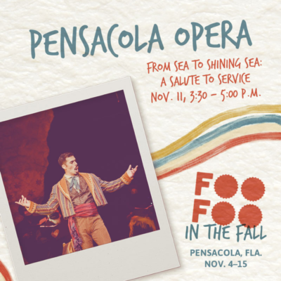 The Pensacola Opera presents from Sea to Shining sea pictured is a graphic promoting the event during the Foo Foo Festival 2021. It features and opera singer and the event date of Nov. 11 and time of 3:30-5pm