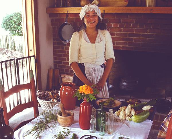 Pensacola Historic Village woman in period costume